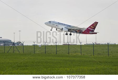 PRAGUE - 27 April 2015: Csa Airbus Plane Taxied On The Runway