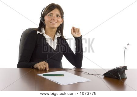 Female Office Worker Talking Phone