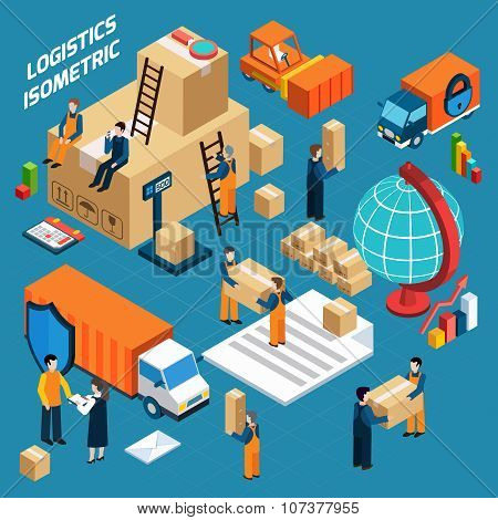 Isometric Warehouse Logistics Concept
