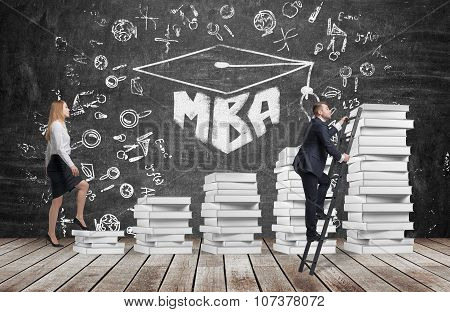 A Woman Is Going Up Using A Stairs Which Are Made Of White Book To Reach Graduation Hat, While A Ma