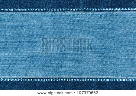 Fashionable  texture,  jeans and blue  rhinestones