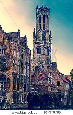 Vintage Look Of Belfry From The Rozenhoedkaai, Historic Centre Of Bruges, Belgium