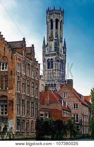 Belfry From The Rozenhoedkaai, Historic Centre Of Bruges, Belgium