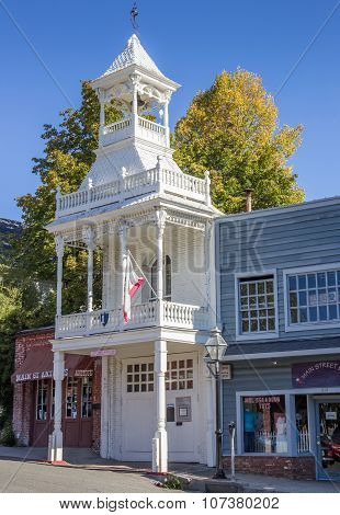 Historical White Wooden Firehouse Of Nevada City