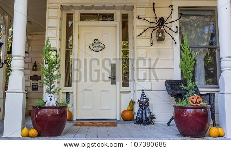 American Porch With Halloween Decoration In Nevada City