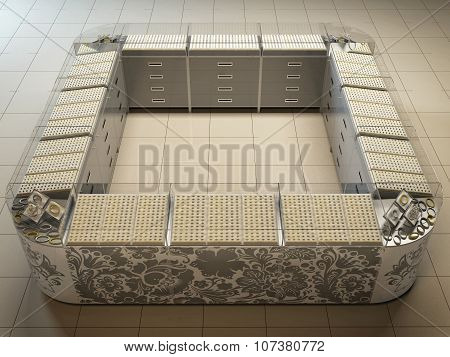 3D Illustration Of An Outlet In Hypermarket On Sale Of Gold And Silver
