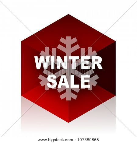 winter sale red cube 3d modern design icon on white background