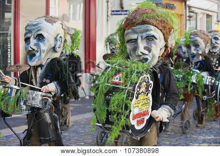 People take part in the parade at Lucerne carnival in Lucerne, Switzerland.