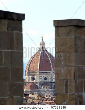Florence In Italy With The Great Dome From The Tower