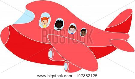Boy And Red-haired Girl In Aircraft