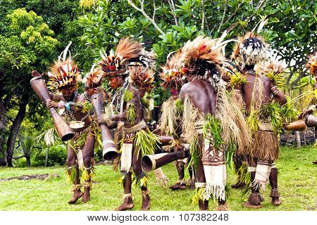 Young Papuan tribal warriors dressed in traditional grass skirts bird feather headdresses playing dr