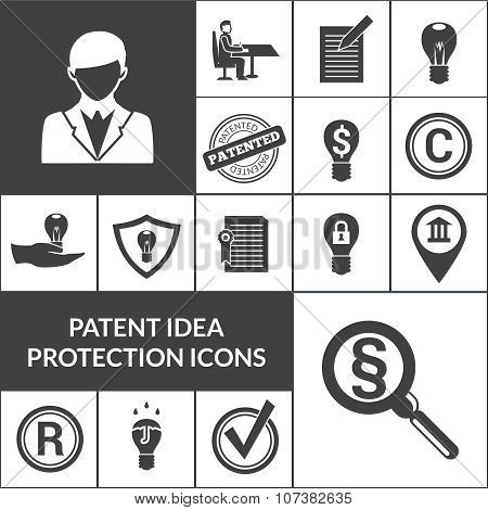 Patent Idea Protection Icons Black