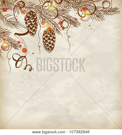 Vintage Hand Drawn Christmas Background