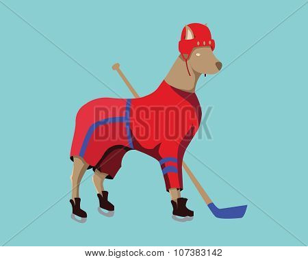 Hockey Dog Mascot In Red Sportswear
