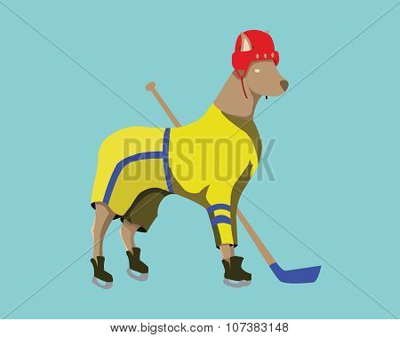 Hockey Dog Mascot In Yellow Sportswear