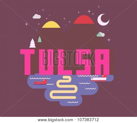 Tulsa destination brand logo. vector cartoon