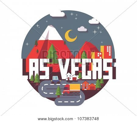 Las Vegas great destination to visit, vector cartoon