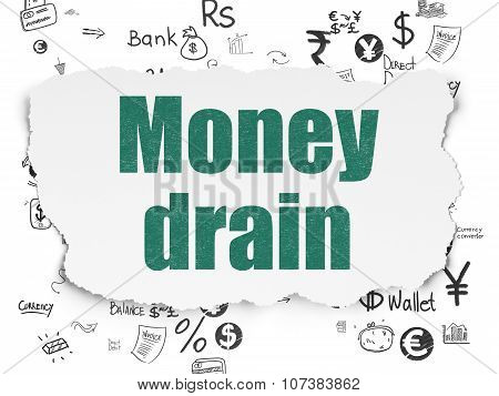 Money concept: Money Drain on Torn Paper background