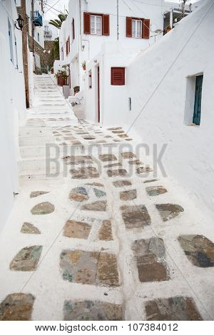 Traditional whitewashed alley at Mykonos town, Greece