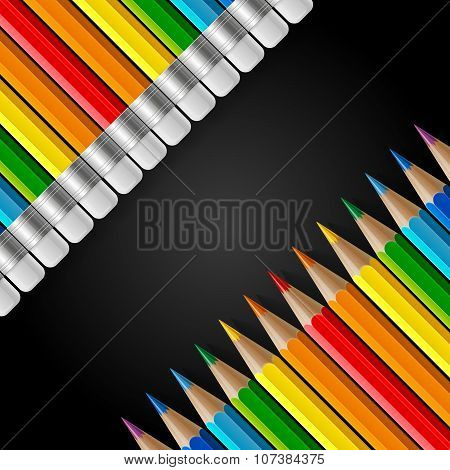 Two diagonal rows of rainbow colored pencils with erasers and realistic shadows on black background