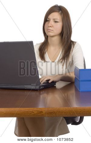 Female Office Worker Working Computer