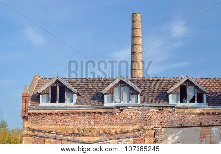 Chimney and buildings of the old slaughterhouse