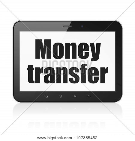Business concept: Tablet Computer with Money Transfer on display