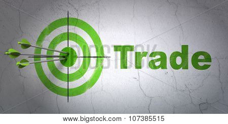 Business concept: target and Trade on wall background