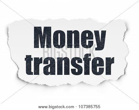 Finance concept: Money Transfer on Torn Paper background