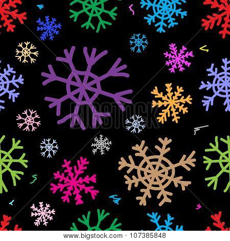 Seamless color snowflakes black