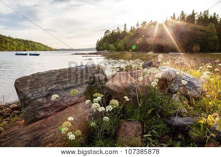 Seascape On The Coast In The Russian Part Of Karelia On