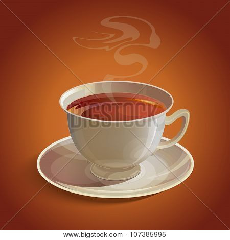 Isolated realistic white tea cup and saucer with vapor on brown background