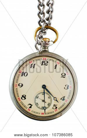 Old Pocket Watch On A Chain On A White Background