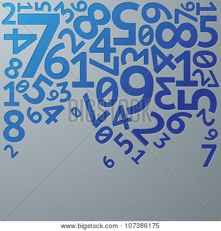 Abstract blue gradient extruded random numbers on grey background pattern