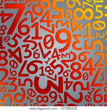 Abstract red and orange gradient extruded random digits on grey background seamless pattern