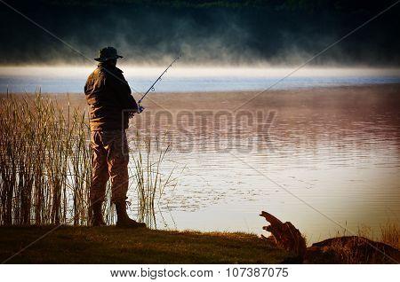 Lone Fisherman Catches Fish