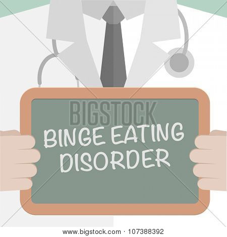 minimalistic illustration of a doctor holding a blackboard with Binge Eating Disorder text, eps10 vector