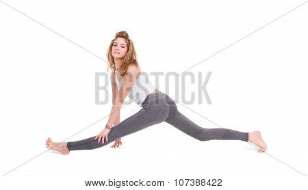 Sport young woman doing fitness exercise