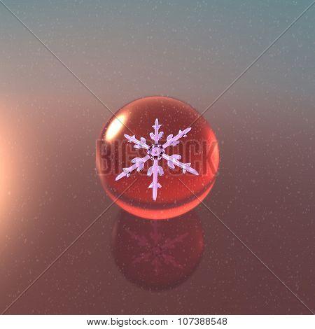 Christmas Snowflakes Crystal Ball Red