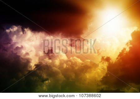 Red clouds illuminated by a bright light
