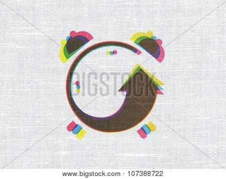 Timeline concept: Alarm Clock on fabric texture background