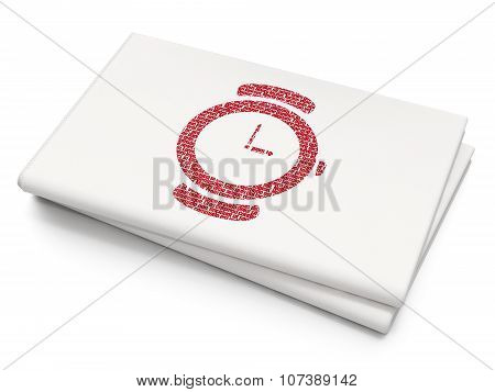 Timeline concept: Hand Watch on Blank Newspaper background