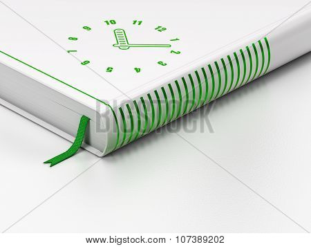 Timeline concept: closed book, Clock on white background