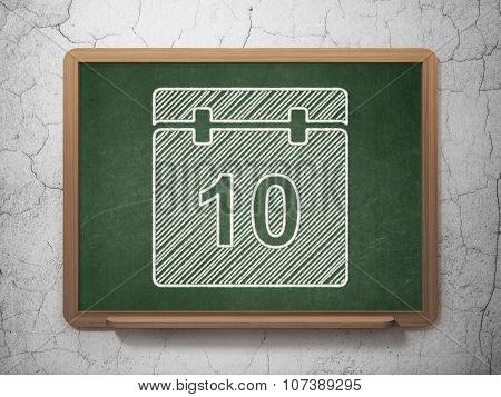 Timeline concept: Calendar on chalkboard background