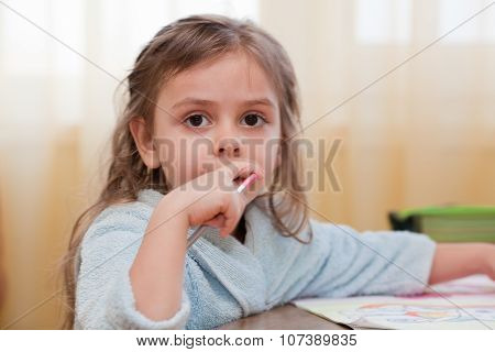 Little Girl With Pencil