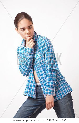Girl Woman In A Blue Shirt And Jeans