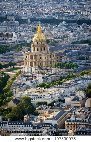 Aerial View Of Gold Dome Of Les Invalides, Paris, France
