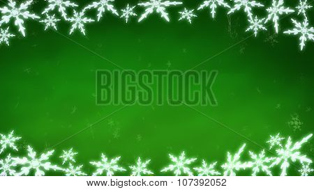 Board Of Snowflakes Background Green