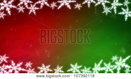 Board Of Snowflakes Background Red Green