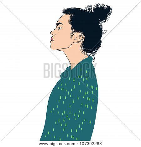 Girl On Green Coat